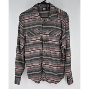 Vans striped boho casual button up stripes top S
